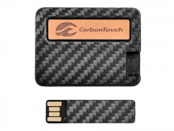Carbon Fiber 4GB Removable USB Drive with Leather Name Plate