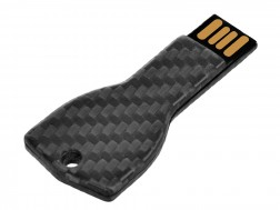 Carbon Touch Key-Shaped Carbon Fiber 4GB USB Keychain - Large